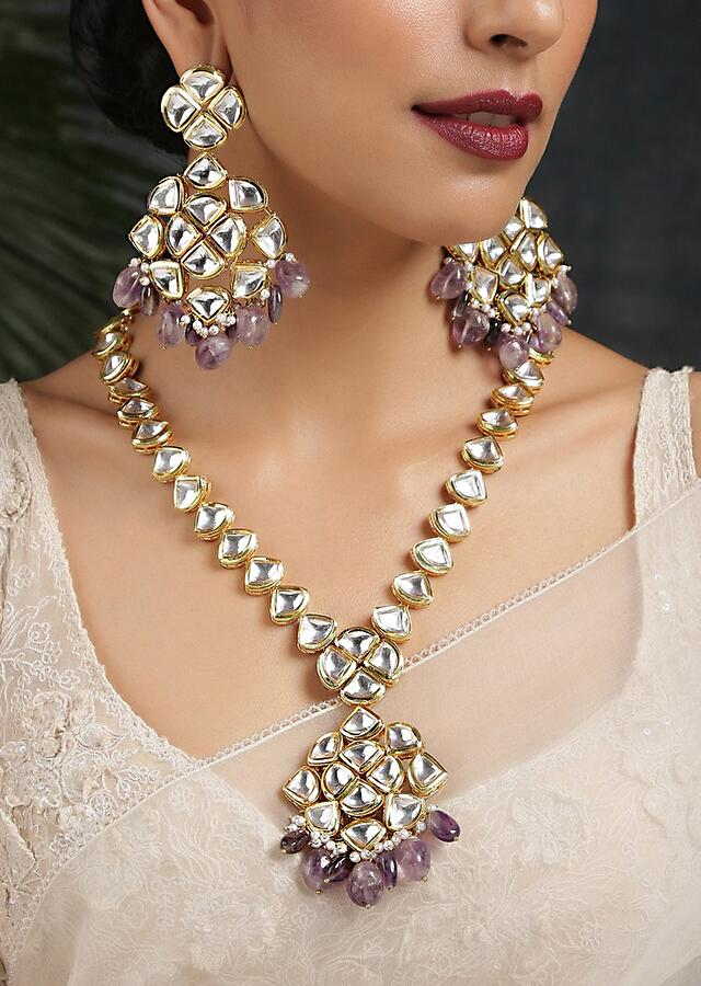 Gold Plated Kundan Necklace Set Handcrafted With Dangling Purple Stone By Paisley Pop