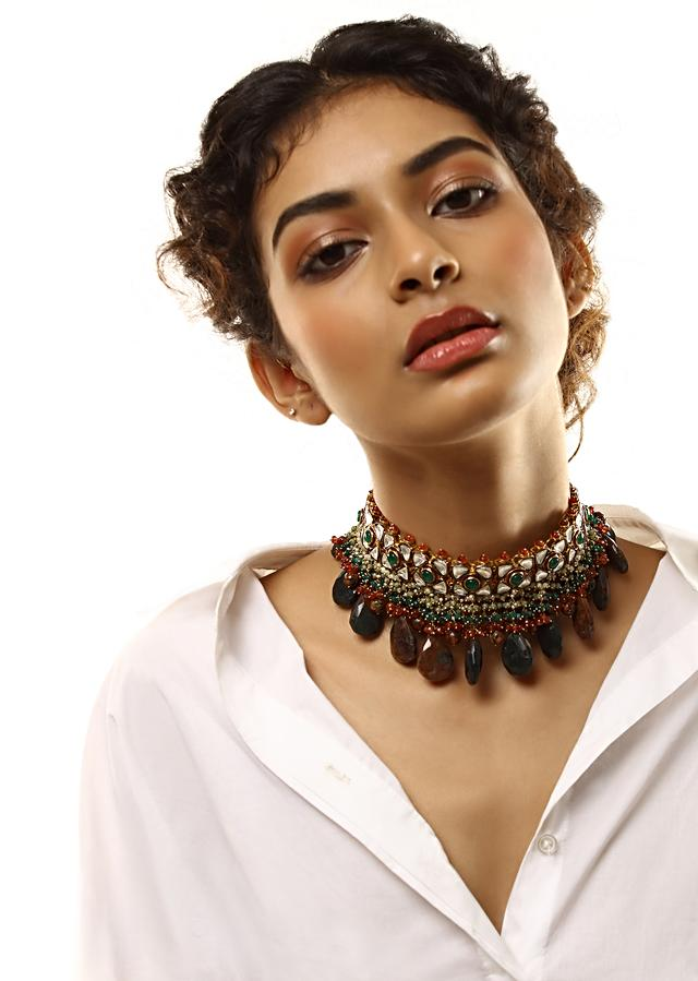 Gold Plated Kundan Necklace With Green Stone And Dangling Brown And Black Semi Precious Drops By Kohar