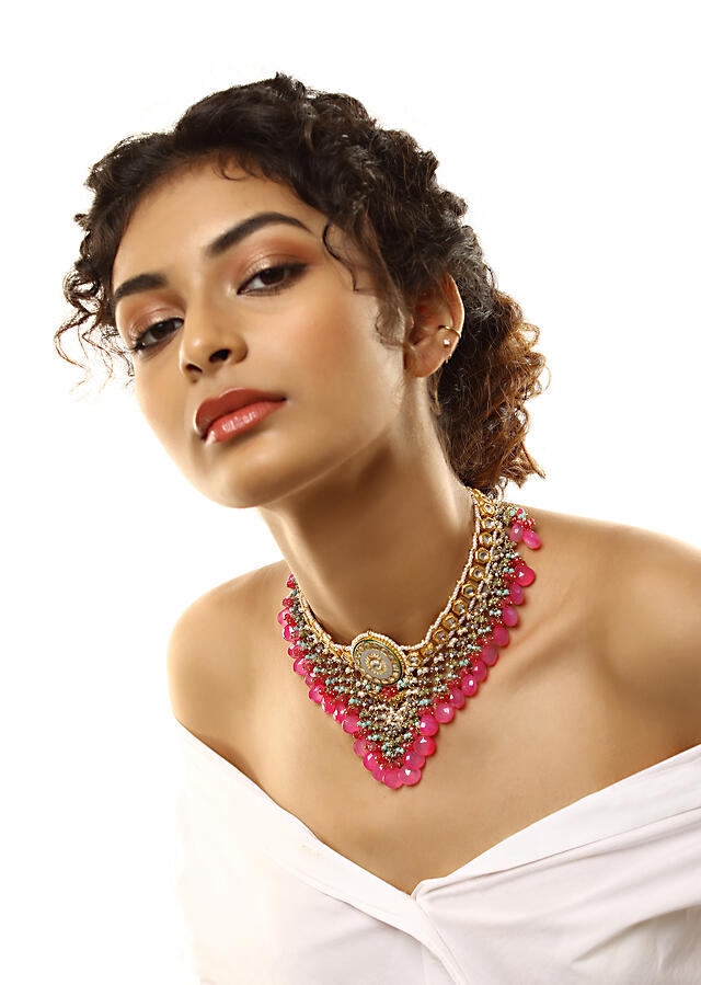 Gold Plated Kundan Necklace With Grey Enamelling, Moti And Dangling Multicolored Beads And Pink Stones By Kohar