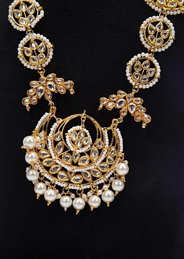 Gold plated kundan necklace with pearl only on Kalki