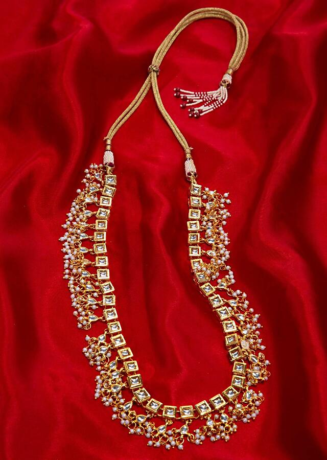 Gold plated kundan necklace with white nano moti bunch drop only on Kalki