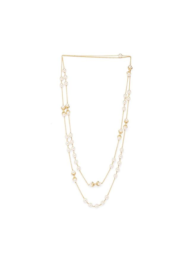 Gold Plated Layered Chain Necklace With Swarovski And Shell Pearls Online - Joules By Radhika