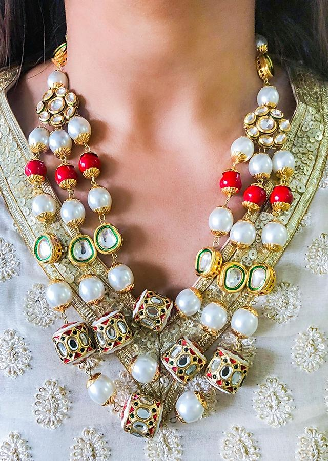 Gold Plated Layered Necklace Adorned With Multicolour Beads And Pearls By Prerto