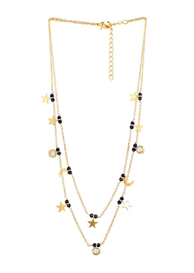 Gold Plated Layered Necklace With Black Onyx Beads And Baroque Pearls Along With Star And Moon Tassels By Zariin