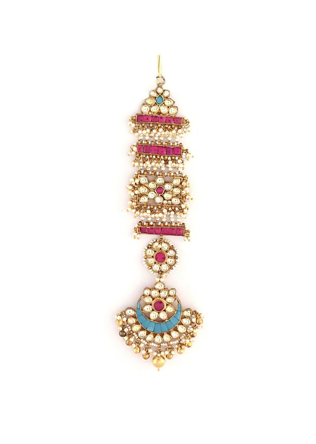 Gold Plated Long Kundan Danglers Studded With Pink And Blue Semi Precious Stones In Floral Motifs Along With Moti And Gold Beads By Kohar