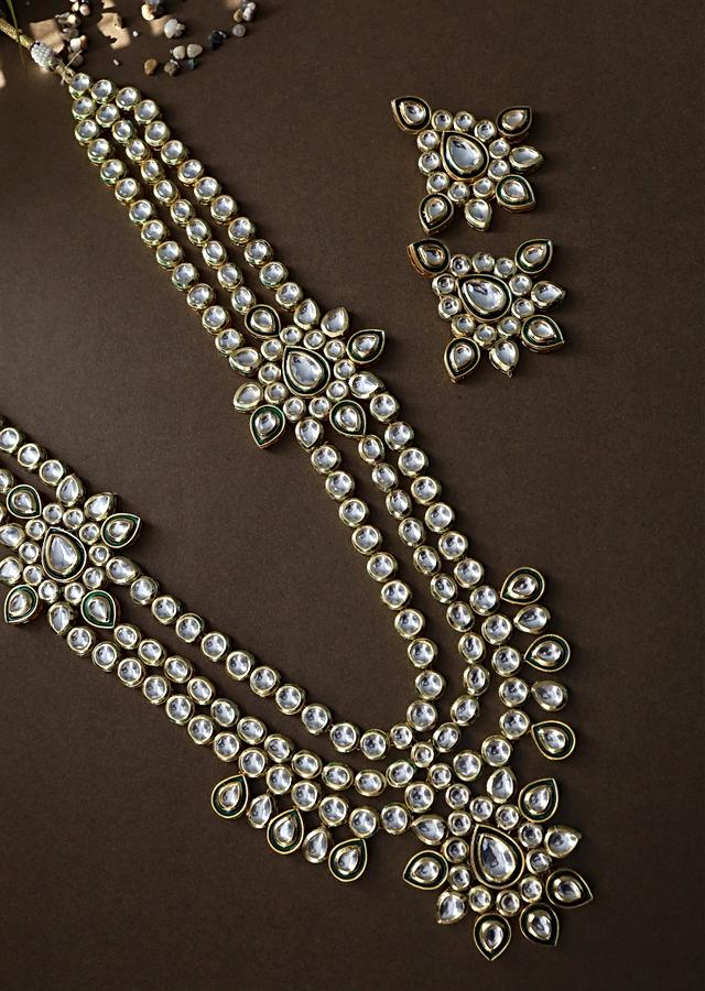 Gold Plated Long Necklace And Earrings Set Encrusted With Kundan In A Flawless Multi Layered Design By Paisley Pop