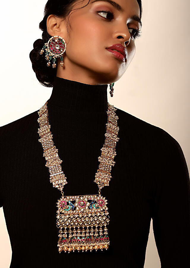Gold Plated Long Necklace And Earrings Set With Kundan And Multi Colored Stone Embellished Peacock Motif By Kohar