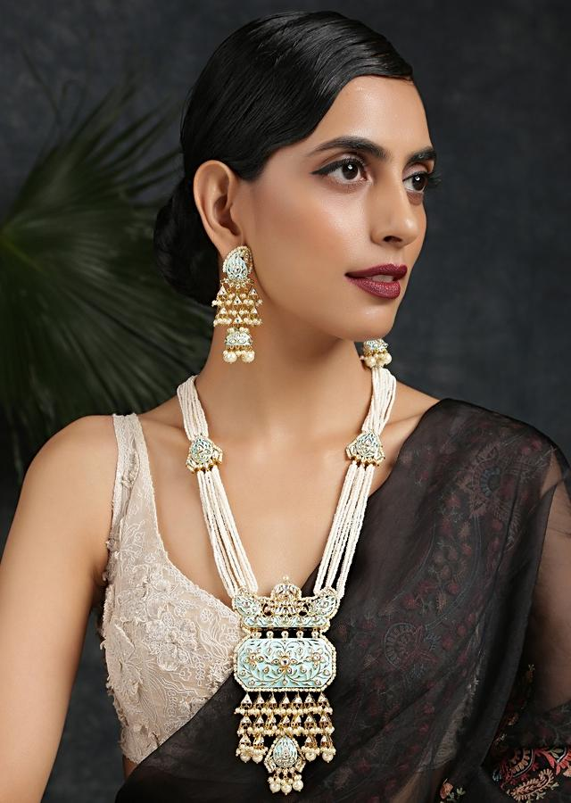 Gold Plated Long Necklace Set With Kundan And Turquoise Meenakari Pendant Along With Moti Strings By Paisley Pop