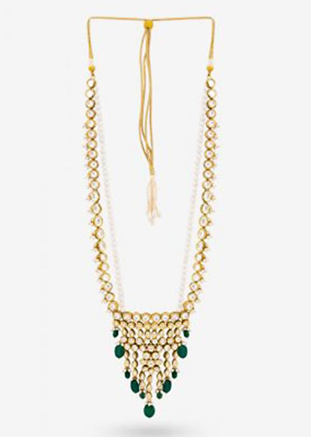 Gold Plated Long Necklace With Delicately Set Kundan Work And Dangling Green Beads By Prerto
