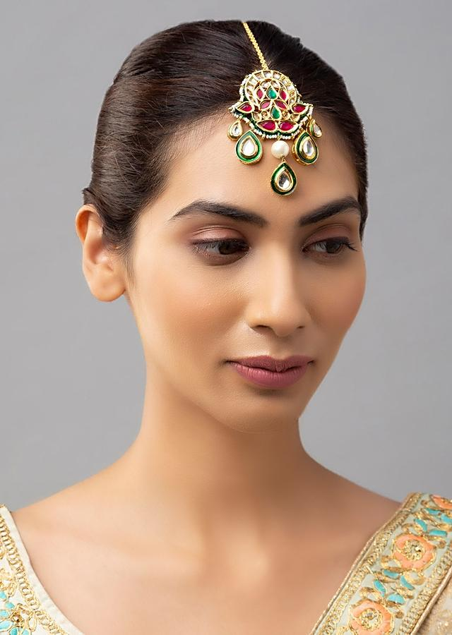 Gold Plated Maang Tika With Red And Green Minakari, Polki Kundan And Exquisite Shell Pearls Online - Joules By Radhika