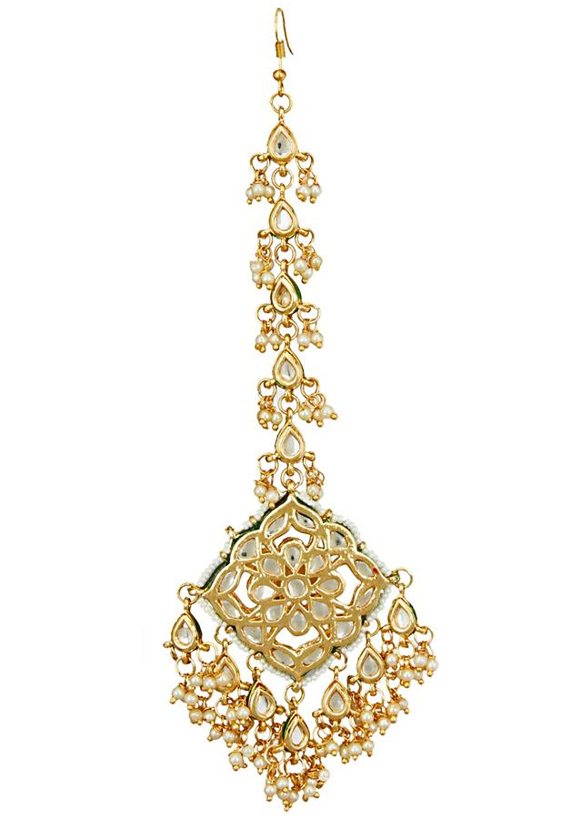 Gold Plated Mang Tika In Square Shape With Minakari And Kundan Work Online - Kalki Fashion