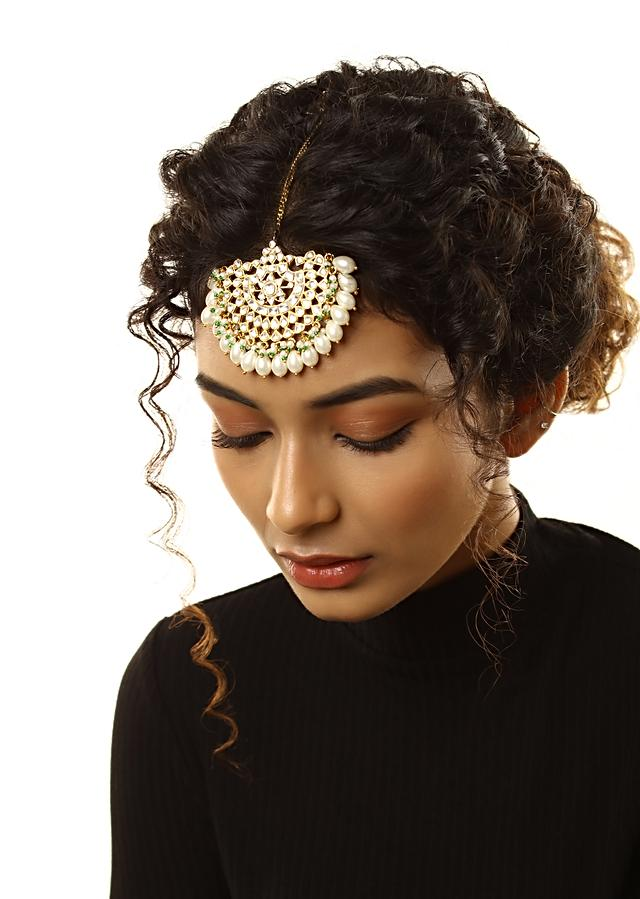 Gold Plated Mangtika Embellished With Polki Kundan And Edged In Pearl Drops By Kohar