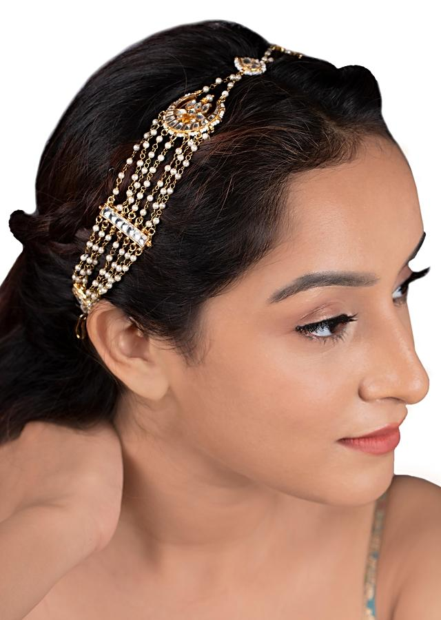 Gold Plated Matha Patti With Kundan And Moti Accents In Crescent Shape By Riana Jewellery