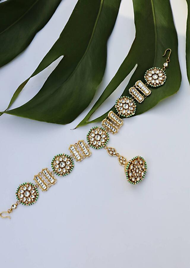 Gold Plated Mathapatti With Kundan And Moti In Unique Floral Motifs And A Round Borla Shaped Tikka In The Centre By Paisley Pop