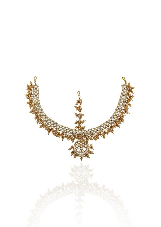 Gold Plated Mathapatti With White Stone, Moti And Golden Bead Tassels By Riana Jewellery