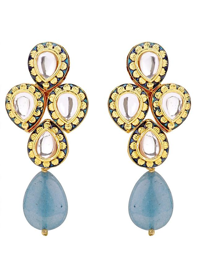 Gold Plated Multi Layer Kundan Necklace And Earrings Set With Blue Semi Precious Stones Online - Joules By Radhika