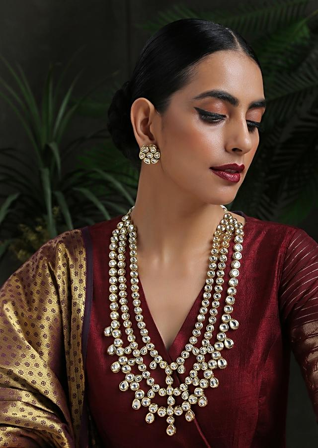 Gold Plated Multi Layered Necklace Encrusted With Kundan In A Flawless Pattern By Paisley Pop
