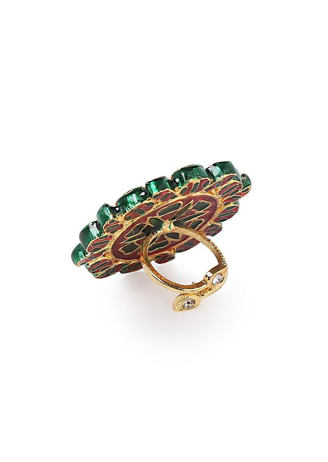 Gold Plated Navrattan Oversized Ring With Polki And Multi Colored Stone Work By Paisley Pop