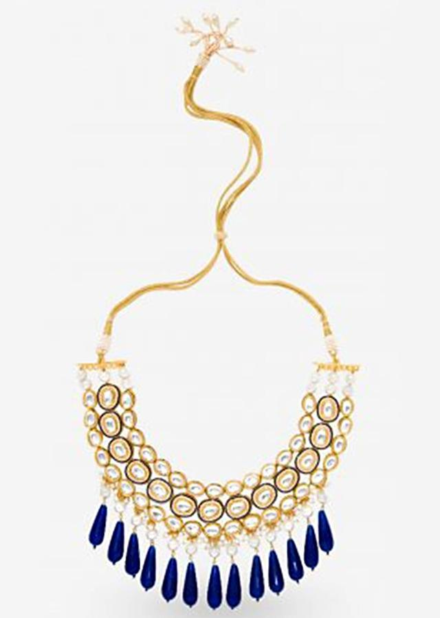 Gold Plated Necklace Adorned With Kundan, Pearls And Dangling Blue Beads By Prerto