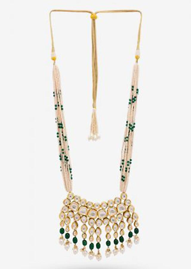 Gold Plated Necklace Adorned With Kundan, Pearls And Green Beads By Prerto