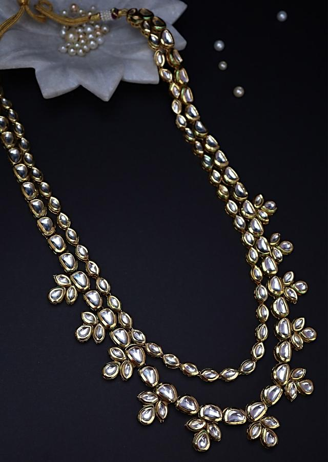 Gold Plated Necklace And Earrings Set Encrusted With Kundan In An Elegant Multilayered Style By Paisley Pop