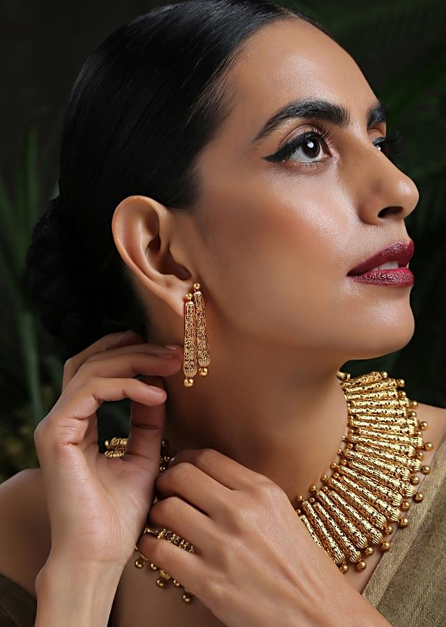 Gold Plated Necklace And Earrings Set With Ancient Engraved Work Inspired From Tribal Motifs By Paisley Pop