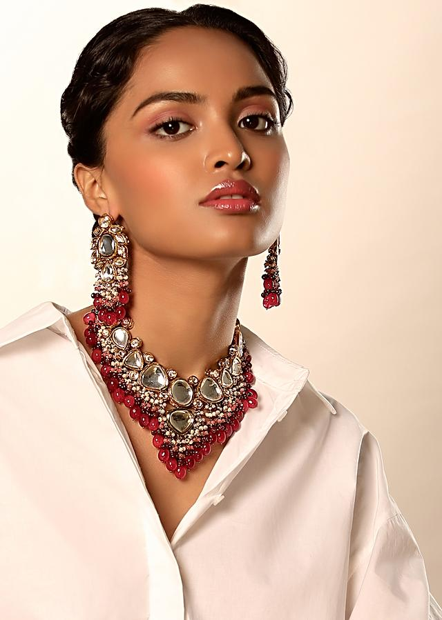Gold Plated Necklace And Earrings Set With Elaborate Kundan Work Along With Rani Pink Ombre Bead Fringes By Kohar