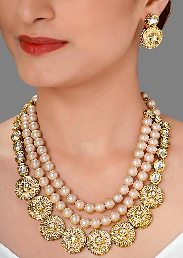 Gold Plated Necklace And Earrings Set With Meenakari, Polki And Shell Pearls Online - Joules By Radhika