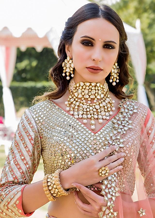 Gold Plated Necklace Designed In A Super Versatile White Hue With Pearls And Kundan Work By Prerto
