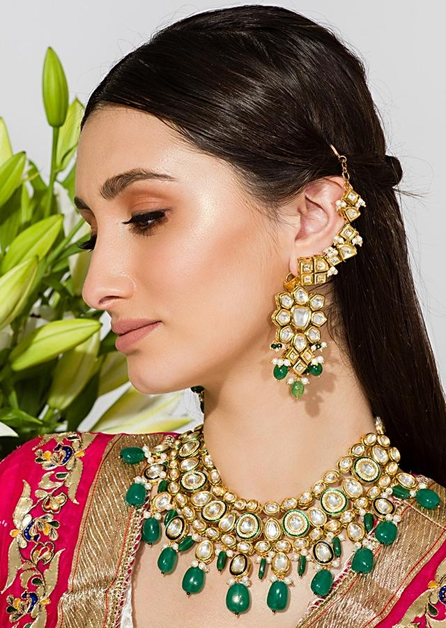 Gold Plated Necklace Designed In The Hue Of A Bold Traditional Color With Kundan And Green Beads By Prerto