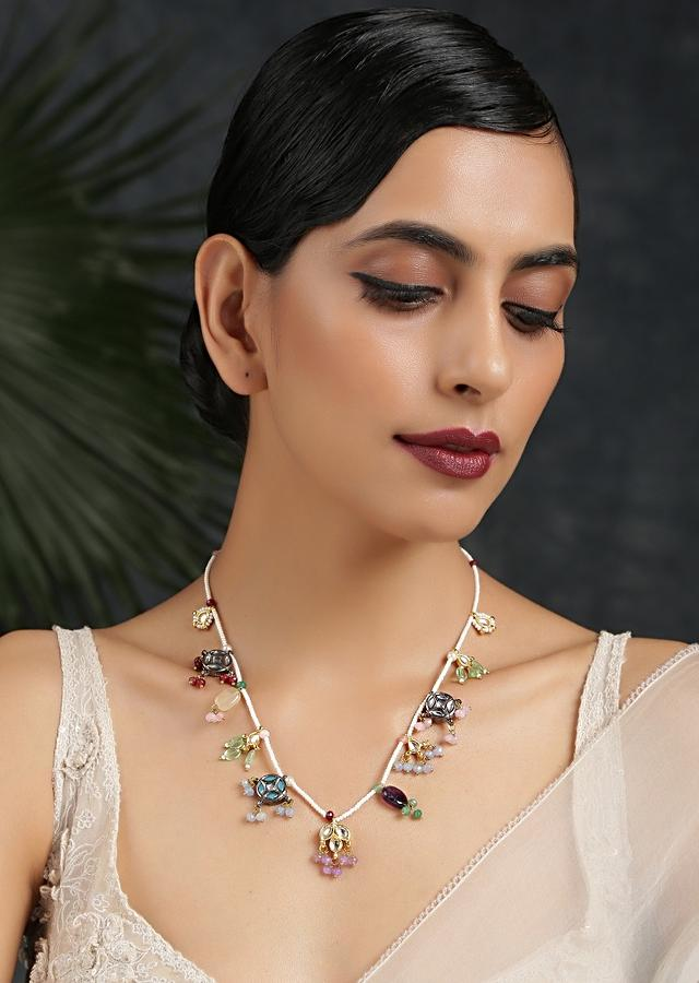 Gold Plated Necklace Featuring A Moti String With Attached Kundan Charms And Multi Colored Beads By Paisley Pop