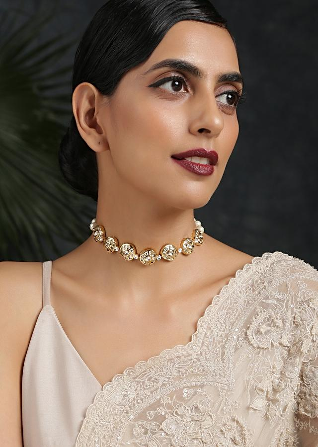 Gold Plated Necklace Handcrafted With Kundan Detailing Along With Pearl Accents By Paisley Pop