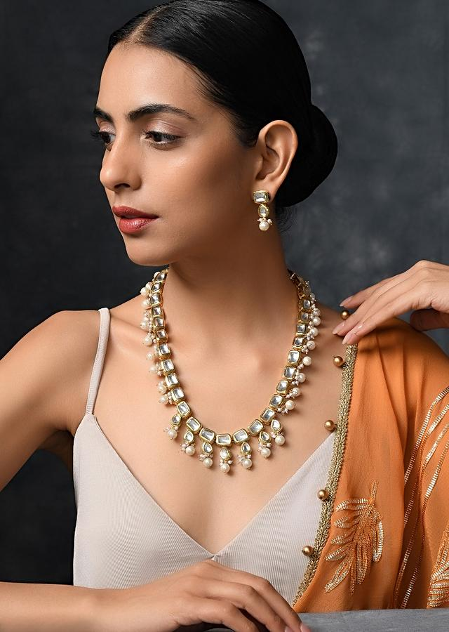 Gold Plated Necklace Handcrafted With Square Kundan Work And Lined With Moti Detailing By Paisley Pop