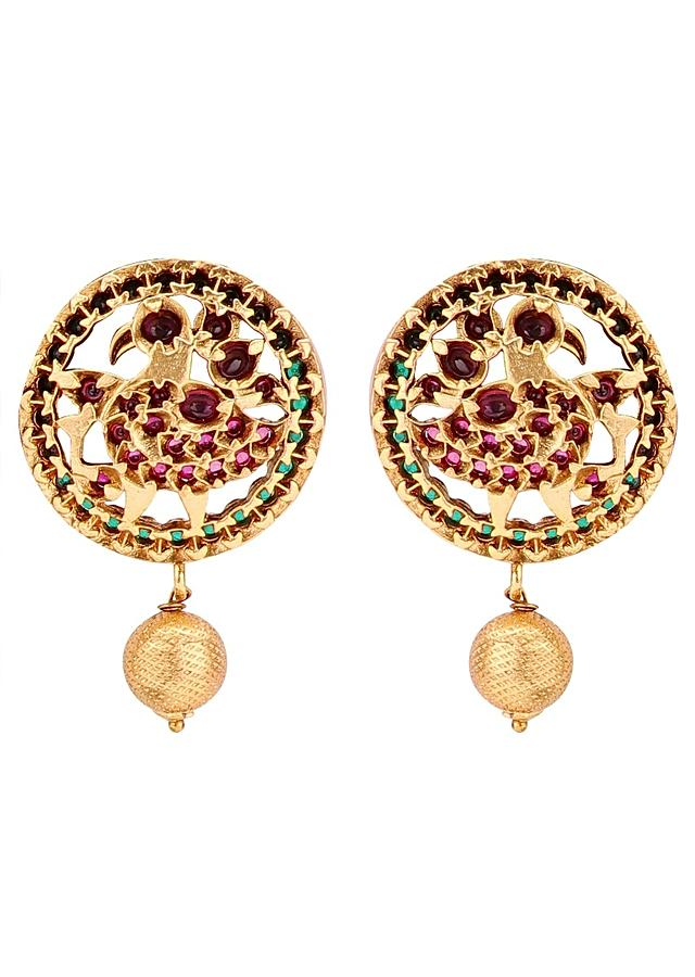 Gold Plated Necklace Set Comprises Of Black Resham Thread And Dangling Beads Online - Joules By Radhika