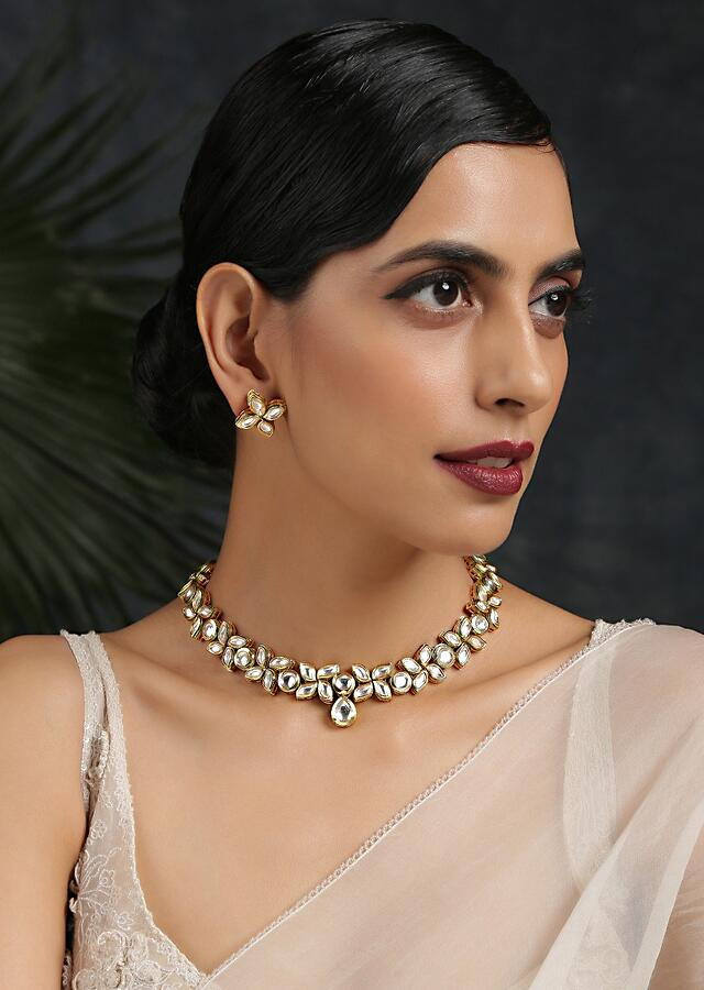 Gold Plated Necklace Set Handcrafted With Kundan Work In A Delicate Design By Paisley Pop