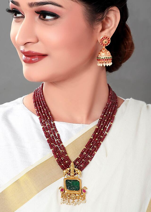 Gold Plated Necklace Set With Carved Green Onyx And Red Agate Beads Online - Joules By Radhika