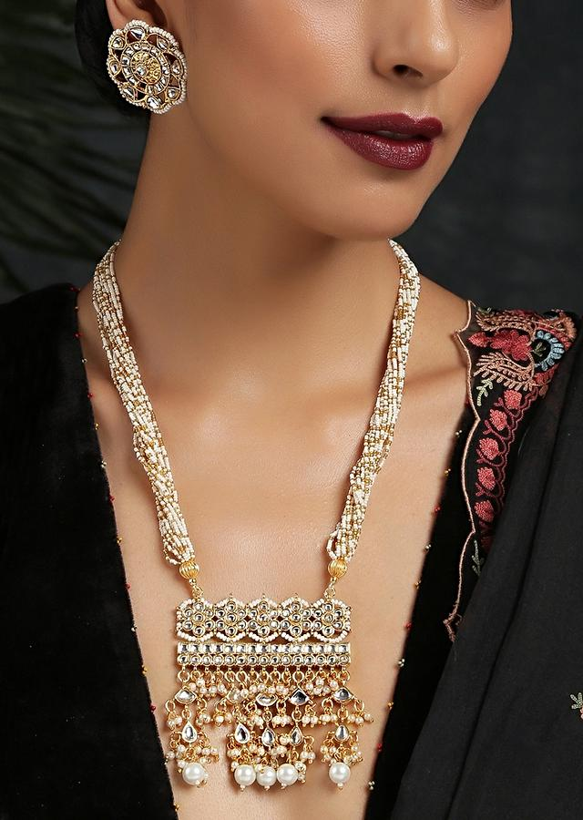 Gold Plated Necklace Set With Floral Stud Earrings Featuring Kundan And Pearls By Paisley Pop