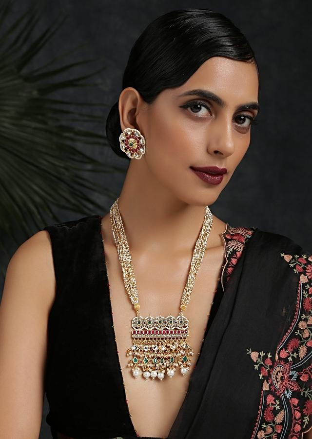 Gold Plated Necklace Set With Floral Stud Earrings Featuring Kundan,  Pearls And Stones In Shades Of Green And Red By Paisley Pop