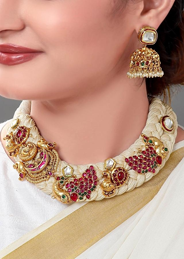 Gold Plated Necklace Set With Off-white Resham Thread And Imitation Polki Online - Joules By Radhika