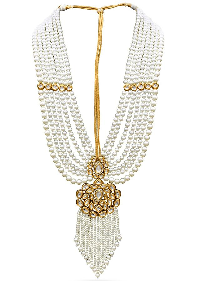 Gold Plated Necklace Strung With Off White Pearls And Set With A Centre Kundan Piece By Prerto