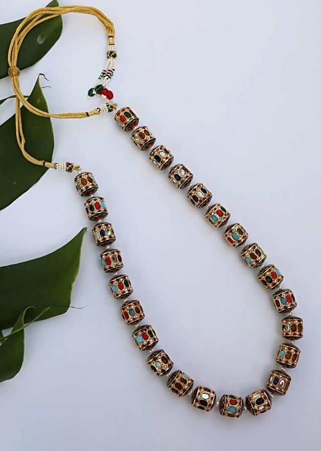 Gold Plated Necklace With A Riot Of Colors Featured On Unusual Cylindrical Beads In  A Traditional Yet Modern Style By Paisley Pop