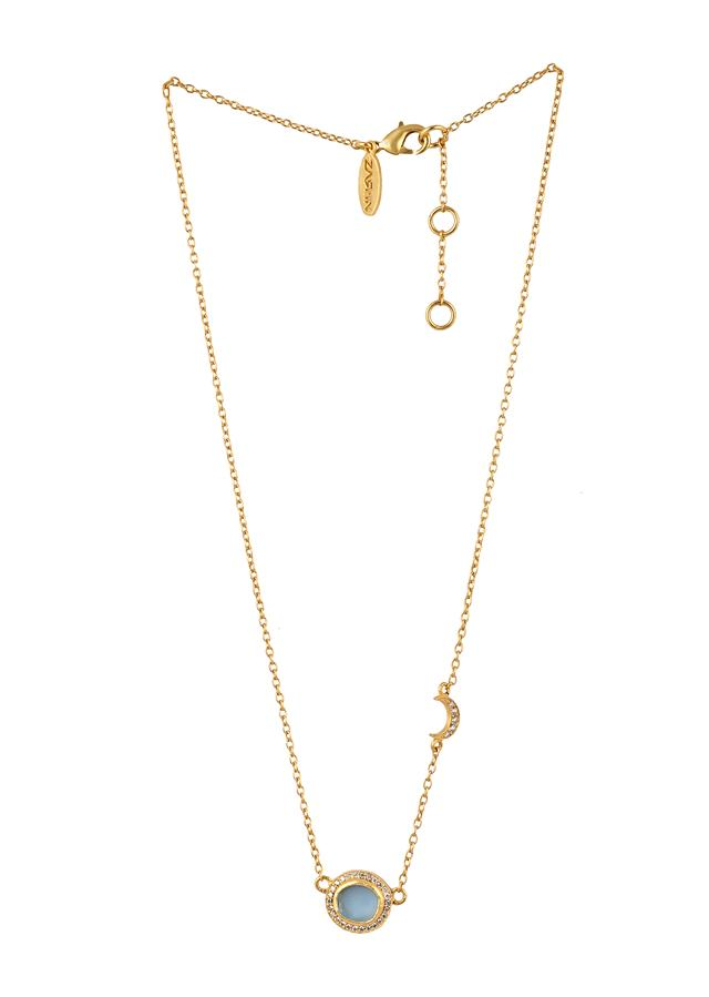 Gold Plated Necklace With Blue Topaz Pendant And Studded With Cubic Zircons By Zariin