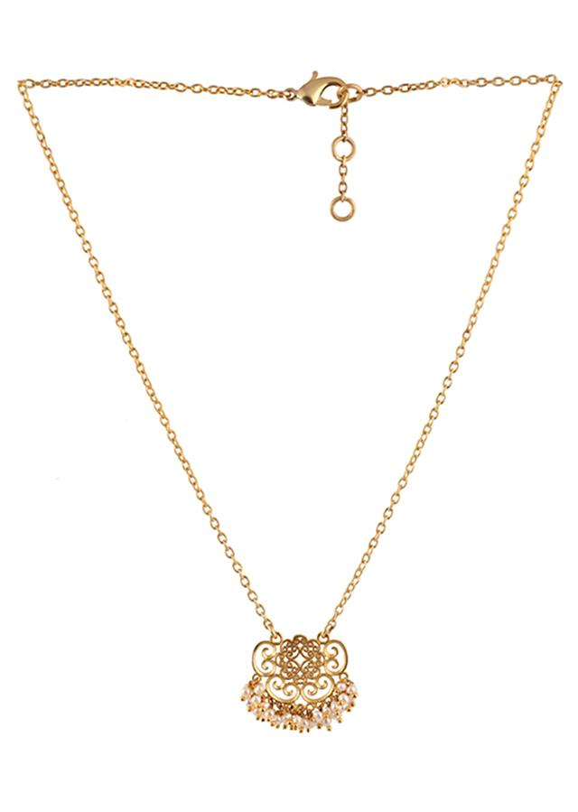 Gold Plated Necklace With Delicate Filigree Design And Pearls By Zariin