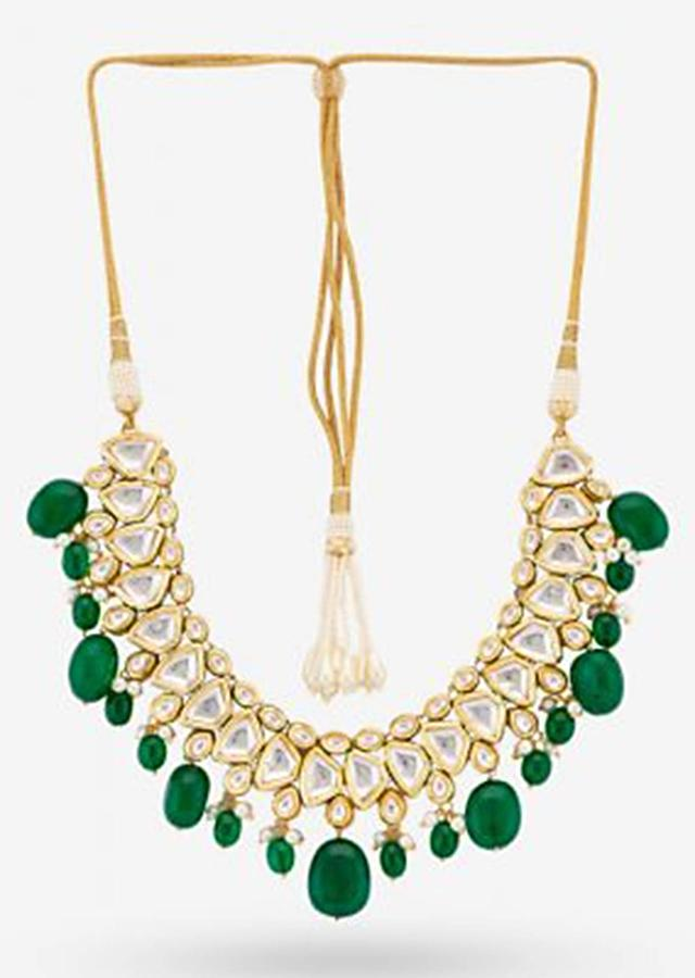 Gold Plated Necklace With Heritage Kundan Work And Dangling Green Beads By Prerto