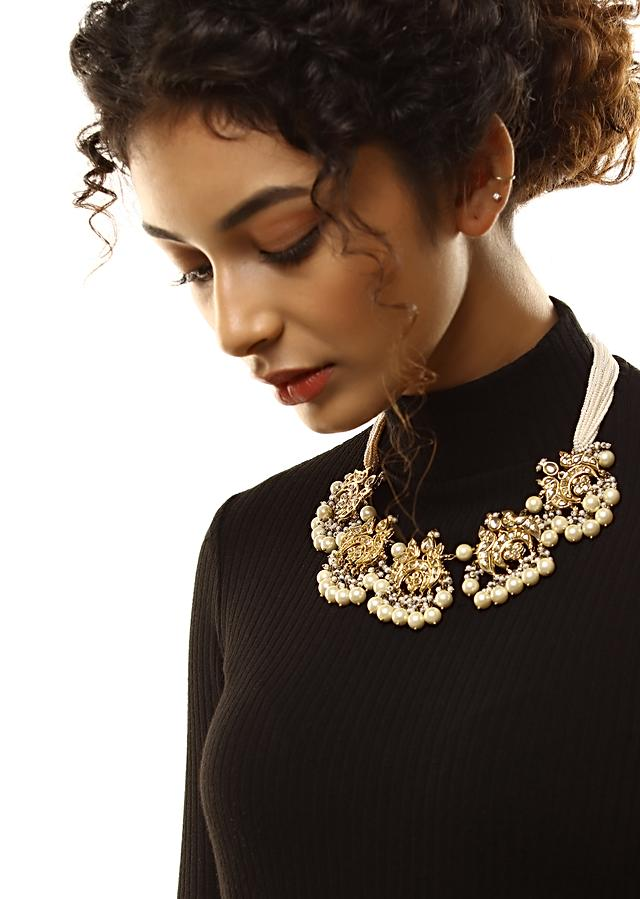 Gold Plated Necklace With Kundan Embellished Peacock Motifs Along With Dangling Pearls And Pearl Strings By Kohar