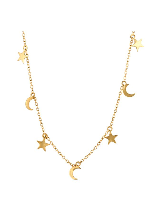 Gold Plated Necklace With Moon And Star Tassels By Zariin