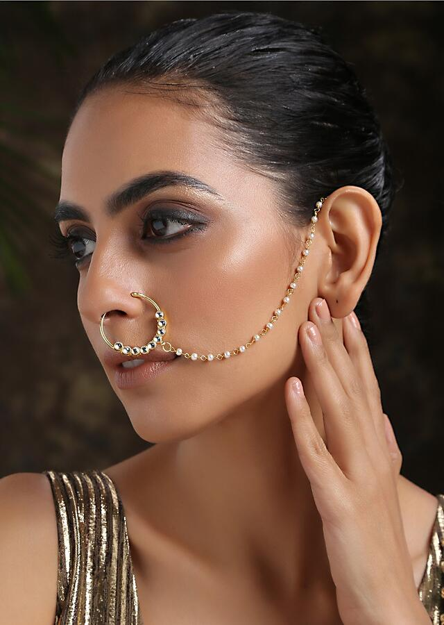Gold Plated Nose Ring Intricately Put Together With Round Kundan And Shell Pearl Detailing By Paisley Pop