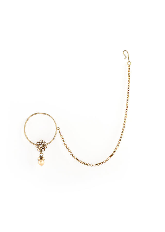 Gold Plated Nose Ring With A Crystal Embellished Floral Motif And Dangling Pearls Along With Chain Detailing By Kohar