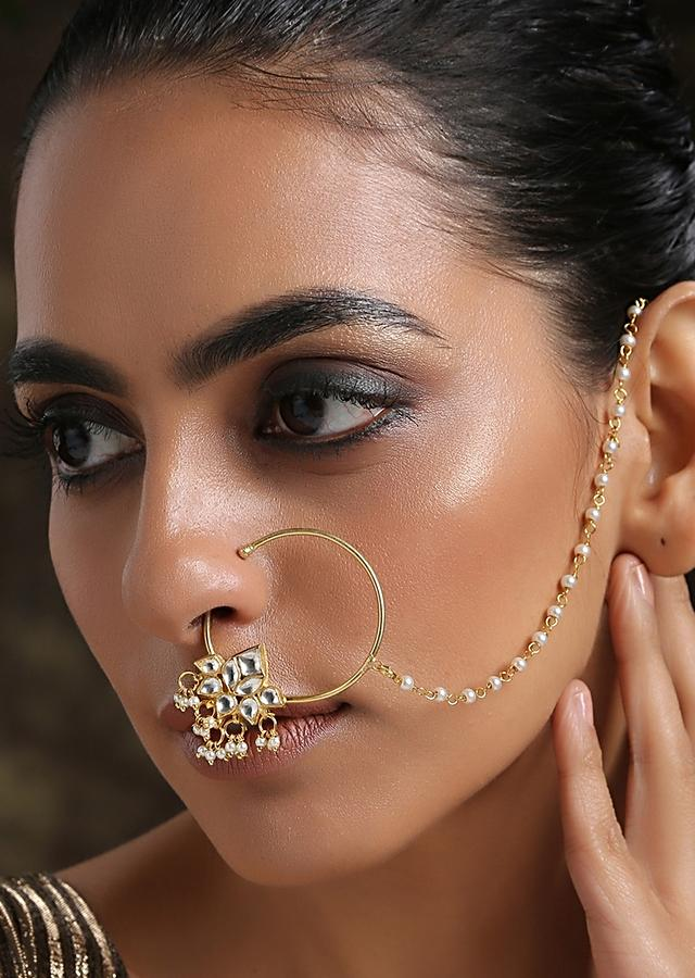 Gold Plated Nose Ring With Kundan In Floral Design Along With Dangling Pearl Tassels By Paisley Pop
