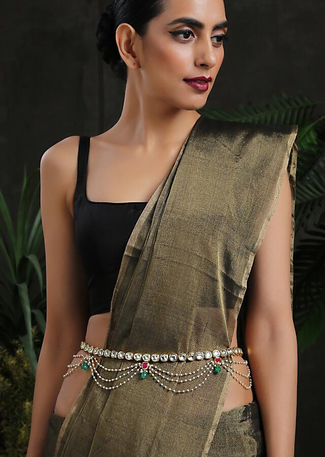 Gold Plated Polki Waist belt With Green And Red Stone Tassels Connected With Three Layered Moti Strings By Paisley Pop